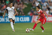 Boyds, MD. - Saturday, June 24 2017:  Nadia Nadim, Caprice Dydasco during a regular season National Women's Soccer League (NWSL) match between the Washington Spirit and the Portland Thorns FC at Maureen Hendricks Field, Maryland SoccerPlex.<br />  The Washington Spirit defeated the Portland Thorns FC 1-0.
