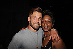 Paulie Calafiore (season 18) and Monica Bailey (season 2) at Big Brother 19 premiere airing live at Slate, New York City, New York (photo by Sue Coflin/Max Photos - suemax13@optonline.net