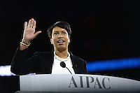 Washington, DC - March 20, 2016: District of Columbia Mayor Muriel Bowser waves after addressing attendees of the AIPAC Policy Conference at the Verizon Center in the District of Columbia, March 20, 2016. AIPAC is engaged in promoting and protecting the U.S.-Israel relationship to enhance security for both countries. (Photo by Don Baxter/Media Images International)