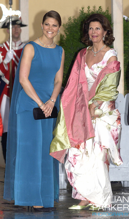 Queen Silvia & Crown Princess Victoria of Sweden attend a Gala Dinner at the El Pardo Royal Palace in Madrid..Picture: UK Press