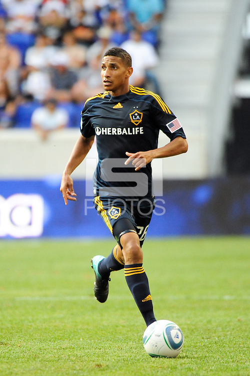 Sean Franklin (28) of the Los Angeles Galaxy. The Los Angeles Galaxy defeated the New York Red Bulls 1-0 during a Major League Soccer (MLS) match at Red Bull Arena in Harrison, NJ, on August 14, 2010.
