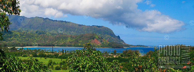 View of Hanalei Bay with mountians in the distance. Hanalei, Kauai, Hawaii