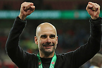 Manchester City manager Pep Guardiola.   Aston Villa vs Manchester City, Caraboa Cup Final Football at Wembley Stadium on 1st March 2020