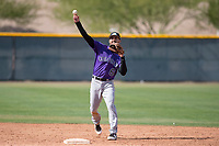 Colorado Rockies first baseman Derrik Gibson (6) during a Minor League Spring Training game against the Chicago Cubs at Sloan Park on March 27, 2018 in Mesa, Arizona. (Zachary Lucy/Four Seam Images)