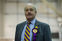 Pictured: Ukip candidate Neil Hamilton during the Newport West by-election ballot count at the Geraint Thomas National Velodrome of Wales in Newport, South Wales, UK. <br /> Thursday 04 April 2019<br /> Re: Voters in Newport West are going to the polls to elect a new member of Parliament.<br /> The seat in south east Wales became vacant following the death of Paul Flynn earlier in February.