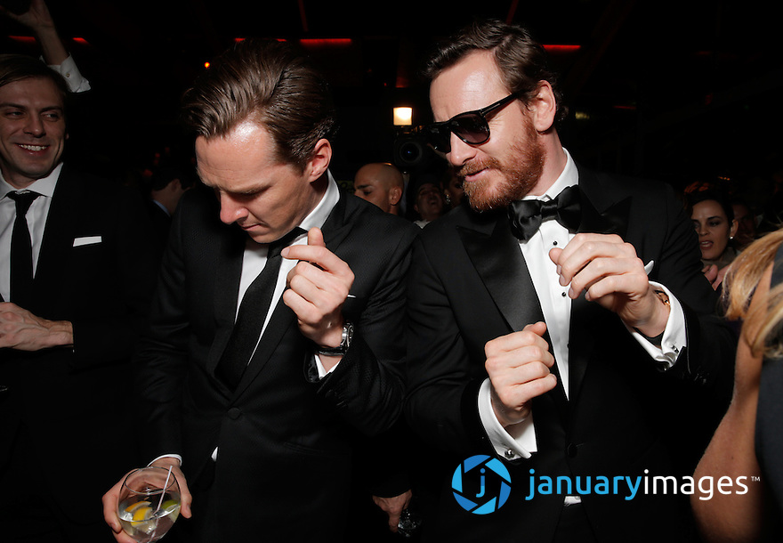 Benedict Cumberbatch, left, and Michael Fassbender attend the FOX after party for the 71st Annual Golden Globes award show on Sunday, Jan. 12, 2014 in Beverly Hills, Calif. (Photo by Todd Williamson/Invision for FOX Broadcasting Company/AP Images)