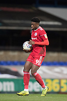 Offrande Zanzala of Accrington Stanley scored from the penalty spot and quickly places the ball back for the re start during Ipswich Town vs Accrington Stanley, Sky Bet EFL League 1 Football at Portman Road on 11th January 2020
