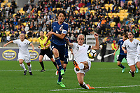 Japan&rsquo;s Saki Kumagai and Ferns&rsquo; Hannah Wilkinson in action during the  International Football - Football Ferns v Japan  at Westpac Stadium, Wellington, New Zealand on Sunday 10 June 2018.<br /> Photo by Masanori Udagawa. <br /> www.photowellington.photoshelter.com
