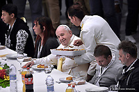 Pope Francis has lunch with guests  in Vatican,  November 17, 2019