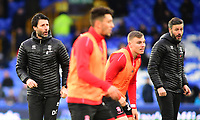Lincoln City manager Danny Cowley, left, and Lincoln City's assistant manager Nicky Cowley, right, during the pre-match warm-up<br /> <br /> Photographer Andrew Vaughan/CameraSport<br /> <br /> Emirates FA Cup Third Round - Everton v Lincoln City - Saturday 5th January 2019 - Goodison Park - Liverpool<br />  <br /> World Copyright &copy; 2019 CameraSport. All rights reserved. 43 Linden Ave. Countesthorpe. Leicester. England. LE8 5PG - Tel: +44 (0) 116 277 4147 - admin@camerasport.com - www.camerasport.com