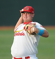 Pitcher Dyllon Nuernberg (53) of the Johnson City Cardinals, Appalachian League affiliate of the St. Louis Cardinals, prior to a game against the Danville Braves on August 19, 2011, at Howard Johnson Field in Johnson City, Tennessee. Danville defeated Johnson City, 5-4, in 16 innings. (Tom Priddy/Four Seam Images)