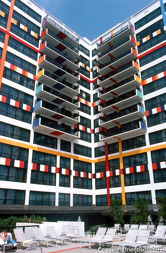 Los Angeles: Le Mondrian Hotel, Sunset Blvd. & Olive, W. Hollywood. Yaacov Agam, 1985.  Photo '85.