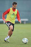 Midfielder Marcelo Saragosa (11) of D.C. United  warming up during the pre-season practice at the auxiliary fields at RFK Stadium, Thursday February 28, 2013.