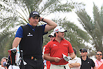 Phil Mickelson and Graeme McDowell on the 9th tee on day one of the Abu Dhabi HSBC Golf Championship 2011, at the Abu Dhabi golf club, UAE. 20/1/11..Picture Fran Caffrey/www.golffile.ie.