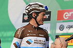 Mathias Frank (SUI) AG2R La Mondiale at sign on before the start of the 112th edition of Il Lombardia 2018, the final monument of the season running 241km from Bergamo to Como, Lombardy, Italy. 13th October 2018.<br /> Picture: Eoin Clarke | Cyclefile<br /> <br /> <br /> All photos usage must carry mandatory copyright credit (© Cyclefile | Eoin Clarke)