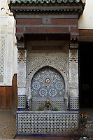 View from the front of the Seffarine Fountain  at the entrance to the Foundouk el-Nejjarrine, Fez, Morocco, pictured on February 24, 2009 in the morning. The Fondouk el-Nejjarine, previously a hostel providing food and shelter for traders, is now the Museum of Wooden Arts and Crafts. Fez, Morocco's second largest city, and one of the four imperial cities, was founded in 789 by Idris I on the banks of the River Fez. The oldest university in the world is here and the city is still the Moroccan cultural and spiritual centre. Fez, Morocco's second largest city, and one of the four imperial cities, was founded in 789 by Idris I on the banks of the River Fez. The oldest university in the world is here and the city is still the Moroccan cultural and spiritual centre. Fez has three sectors: the oldest part, the walled city of Fes-el-Bali, houses Morocco's largest medina and is a UNESCO World Heritage Site;  Fes-el-Jedid was founded in 1244 as a new capital by the Merenid dynasty, and contains the Mellah, or Jewish quarter; Ville Nouvelle was built by the French who took over most of Morocco in 1912 and transferred the capital to Rabat. Picture by Manuel Cohen.