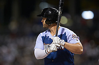 Daniel Palka (7) of the Charlotte Knights at bat against the Indianapolis Indians at BB&T BallPark on April 27, 2019 in Charlotte, North Carolina. The Indians defeated the Knights 8-4. (Brian Westerholt/Four Seam Images)