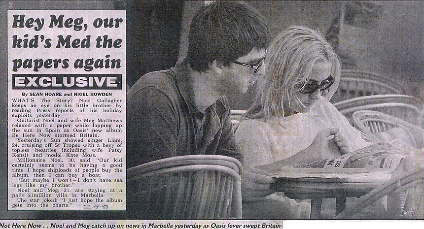 MEG MATTHEWS AND NOEL GALLAGHER ON HOLIDAYS IN PUERTO BANUS MARBELLA SPAIN COSTA DEL SOL. Snatch frames..PIC JAYNE RUSSELL.21.8.97