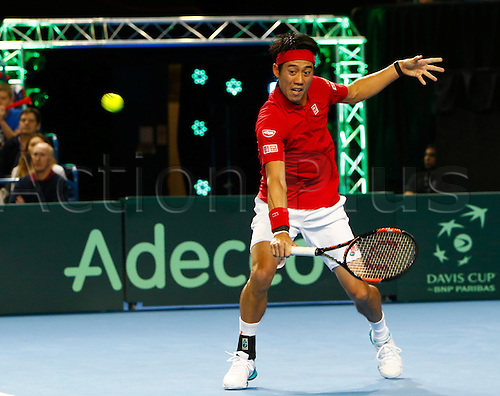 06.03.2016. Barclaycard Arena, Birmingham, England. Davis Cup Tennis World Group First Round. Great Britain versus Japan. Japan's Kei Nishikori hits a backhand during his singles match against Great Britain's Andy Murray on day 3 of the tie.