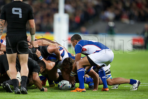 24.09.2015. Olympic Stadium, London, England. Rugby World Cup. New Zealand versus Namibia. Namibia scrum-half Eugene Jantjies puts a ball into the scrum.