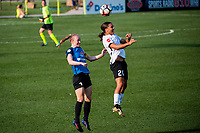 Kansas City, MO - Sunday September 3, 2017: Becky Sauerbrunn, Samantha Kerr during a regular season National Women's Soccer League (NWSL) match between FC Kansas City and Sky Blue FC at Children's Mercy Victory Field.