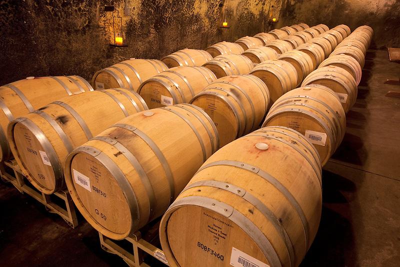 Wine barrels at Beringer Vineyards, Napa Valley, California.