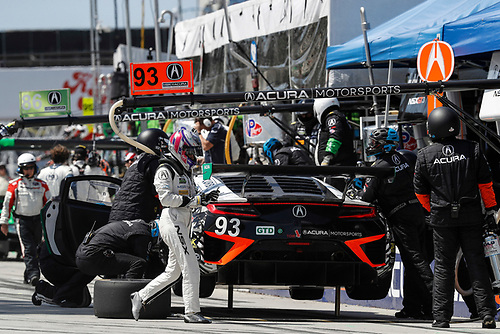2017 IMSA WeatherTech SportsCar Championship<br /> BUBBA burger Sports Car Grand Prix at Long Beach<br /> Streets of Long Beach, CA USA<br /> Saturday 8 April 2017<br /> 93, Acura, Acura NSX, GTD, Andy Lally, Katherine Legge, pit stop<br /> World Copyright: Michael L. Levitt<br /> LAT Images<br /> ref: Digital Image levitt-0417-lbgp_08233