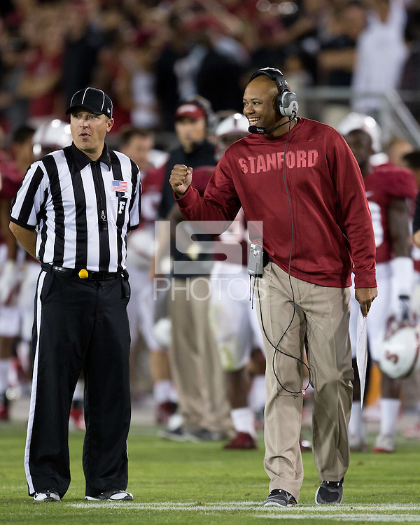 Stanford, CA -- September 15, 2012:  David Shaw - Bradford M. Freeman Director of Football/Head Coach during Stanford's regular season opening game vs USC. Stanford defeated the Trojans 21-14.