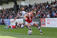 Katie McCabe of Arsenal and Erin Simon of West Ham during Arsenal Women vs West Ham United Women, Barclays FA Women's Super League Football at Meadow Park on 8th September 2019
