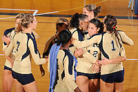 11 September 2011:  FIU's team (pictured, Una Trkulja (7), Renele Forde (14), Sabrina Gonzalez (12), Andrea Lakovic (1) and others) celebrating winning the match as the FIU Golden Panthers defeated the Florida A&M University Rattlers, 3-0 (25-10, 25-23, 26-24), at U.S Century Bank Arena in Miami, Florida.