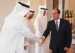 Egyptian President Abdel Fattah al-Sisi shakes hands with UAE officials before he leaves Abu Dhabi, on September 26, 2017. Photo by Egyptian President Office