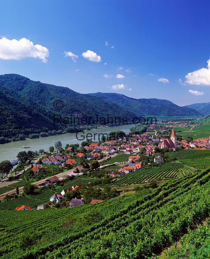Austria, Lower Austria, Wachau, Weißenkirchen: wine-village at river Danube with church St. Michael