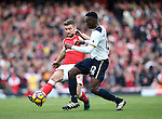 Arsenal's Shkodran Mustafi tussles with Tottenham's Victor Wanyama during the Premier League match at the Emirates Stadium, London. Picture date November 6th, 2016 Pic David Klein/Sportimage