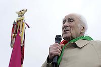 Roma 25 Aprile 2011.Porta San Paolo.Celebrazione per l'anniversario della  liberazione dal nazifascismo.. Massimo Rendina comandante Partigiano