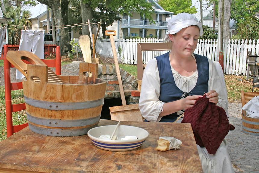 Era dressed woman living history demonstration Historic Pensacola Village Pensacola Florida