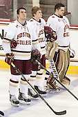 Ian McCoshen (BC - 3), Scott Savage (BC - 2), Brian Billett (BC - 1) - The Boston College Eagles defeated the visiting Merrimack College Warriors 2-1 on Wednesday, January 21, 2015, at Kelley Rink in Conte Forum in Chestnut Hill, Massachusetts.