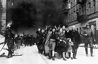 Jewish civilians.  Copy of German photograph taken during the destruction of the Warsaw Ghetto, Poland, 1943.   (WWII War Crimes Records)<br /> Exact Date Shot Unknown<br /> NARA FILE #:  238-NT-282<br /> WAR &amp; CONFLICT BOOK #:  1280