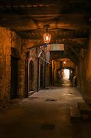 France, Provence-Alpes-Côte d'Azur, Villefranche-sur-Mer: famous Rue Obscure | Frankreich, Provence-Alpes-Côte d'Azur, Villefranche-sur-Mer: die Rue Obscure, eine von Haeusern ueberbaute Strasse