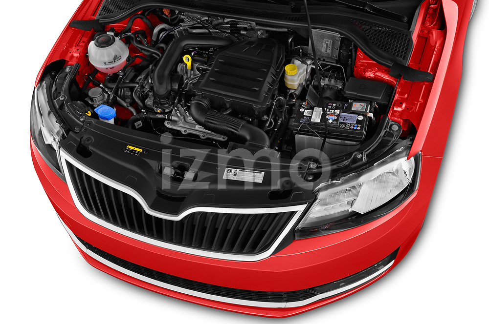 Car stock 2018 Skoda Rapid Spaceback Ambition 5 Door Hatchback engine high angle detail view