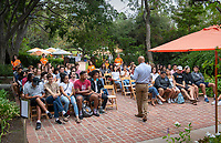 Matriculation Brunch Appointments for incoming first-years at the start of Occidental College's Fall Orientation for the class of 2022, Aug. 27, 2018. Students meet Dean of Students Rob Flot in groups on the patio near Mitchell Garden. They also add their names to the official book of students names, add a wish to the wishing tree and then write something in chalk on Thorne Patio.<br /> (Photo by Marc Campos, Occidental College Photographer)