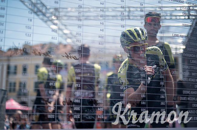 Simon Yates (GBR/Mitchelton-Scott) signing on<br /> <br /> Stage 12: Cuneo to Pinerolo (158km)<br /> 102nd Giro d'Italia 2019<br /> <br /> ©kramon