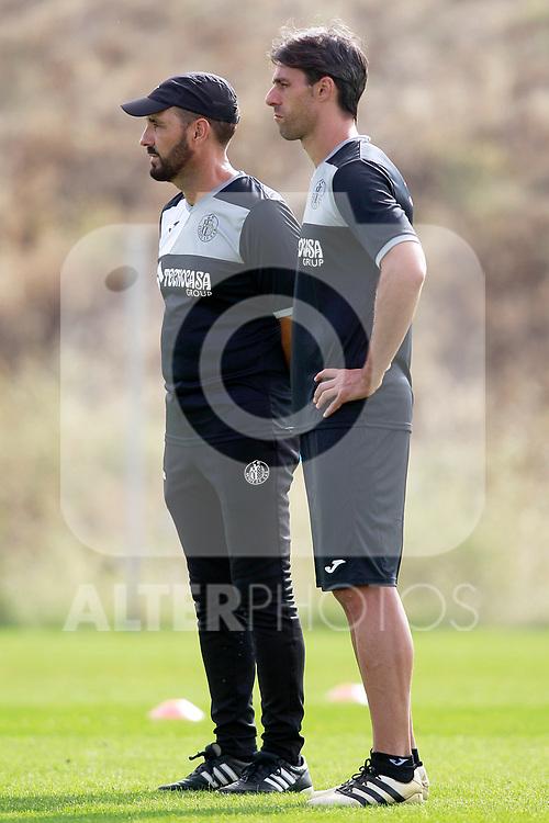 Getafe CF's coach Jose Bordalas with his second Sergio Pelegrin during training session. August 1,2017.(ALTERPHOTOS/Acero)