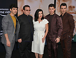 Joe Jonas, Paul Kevin Jonas Sr., Denise Miller-Jonas, Nick Jonas, and Kevin Jonas 114 arrives at the Premiere Of Amazon Prime Video's Chasing Happiness at Regency Bruin Theatre on June 03, 2019 in Los Angeles, California.