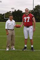 7 August 2006: Stanford Cardinal head coach Walt Harris and David Long during Stanford Football's Team Photo Day at Stanford Football's Practice Field in Stanford, CA.