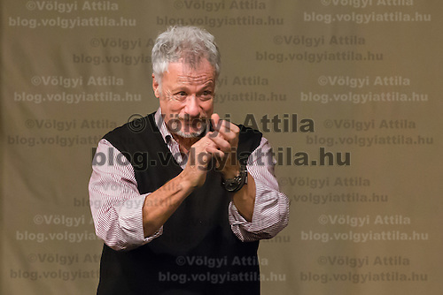 US actor John de Lancie talks on stage during a meeting with his fans in Budapest, Hungary on January 11, 2015. ATTILA VOLGYI