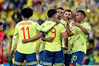 BOGOTA - COLOMBIA, 03-06-2019: Falcao Garcia jugador de Colombia celebra con sus compañeros después de anotar el tercer gol de su equipo durante partido amistoso entre Colombia y Panamá jugado en el estadio El Campín en Bogotá, Colombia. / Falcao Garcia player of Colombia celebrates with his teammates after scoring the third goal of his team during a friendly match between Colombia and Panama played at Estadio El Campin in Bogota, Colombia. Photo: VizzorImage / Nelson Rios / Cont