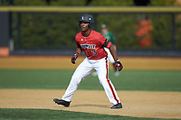 Josh Stowers (25) of the Louisville Cardinals takes his lead off of first base against the Wake Forest Demon Deacons at David F. Couch Ballpark on March 17, 2018 in  Winston-Salem, North Carolina.  The Cardinals defeated the Demon Deacons 11-6.  (Brian Westerholt/Four Seam Images)