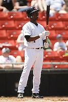 Hickory center fielder Andrew McCutchen (1) between pitches versus Asheville at L.P. Frans Stadium in Hickory, NC, Sunday, May 21, 2006.  Hickory defeated Asheville 5-4.