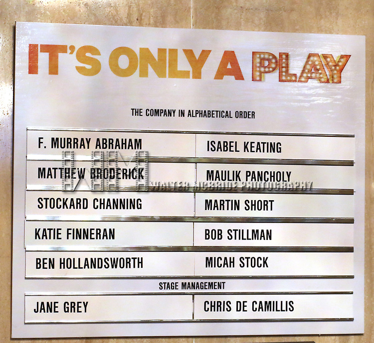 Lobby Cast Board for the re-opening night Curtain Call for 'It's Only A Play' starring Martin Short and Matthew Broderick at the Bernard B. Jacobs Theatre on January 23, 2014 in New York City.