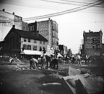 Workers laying tracks for the new electric trolley in Exchange Place, Waterbury, 1894